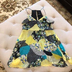 Zara Green Floral Pattern Dress Sz Small